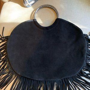 Saint Laurent suede circle bag silver handles